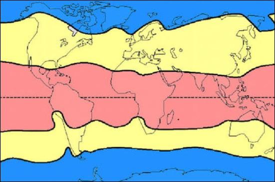 Sur cette carte, quelle zone climatique est représentée en bleu ?