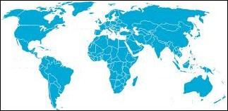 Sur cette carte, les mers et océans sont en bleu.