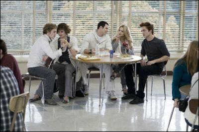 Comment Bella est-elle habillée lorsqu'elle aperçoit les Cullen pour la première fois ? ( très très facile )
