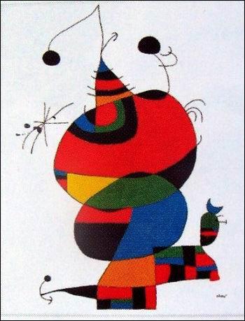 Formes rondes qui s'empilent dans ce tableau très coloré, hommage rendu à Picasso par l'artiste ?