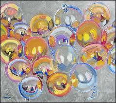 L'usage du cercle pour un tableau figuratif, des boules de Noël, pour l'artiste ?