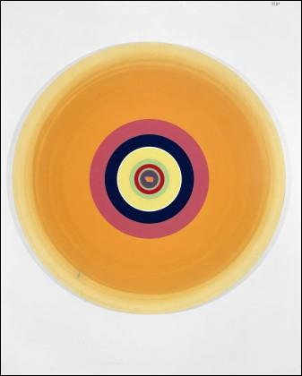 Voici un tableau titré 'Gorgeous concentric sunny line' (à peu près Superbe ligne concentrique ensoleillée) qui a été réalisé par le peintre ?
