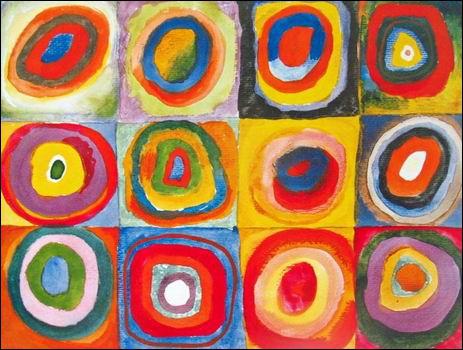 Voici des cercles dans des carrés, peints par l'artiste ?