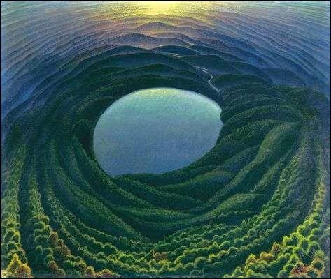 De l'usage du cercle et de la courbe sur un paysage, ici Aurore sur le golfe, du peintre ?