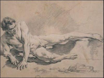 Qui a dessiné 'Homme couché sur son bras droit' ?
