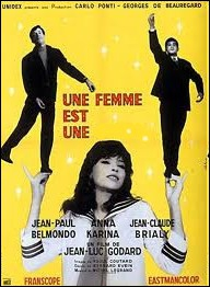 Anna Karina, Jean-Claude Brialy et Belmondo trio de choc d'un film sur l'impertinence : Une femme est une ... ...