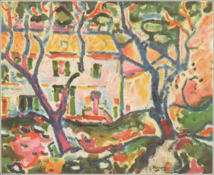 Qui a peint Maison derrière les arbres ?
