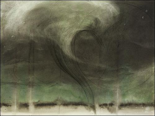 C'est une peinture de Judith Brandon, intitulée Green tunnel cloud, qui pourrait illustrer directement l'affiche du film... ?