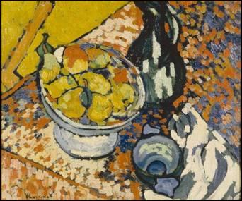 D'abord adepte du fauvisme, avant d'évoluer vers le cubisme, il a peint 'Nature morte au compotier' :