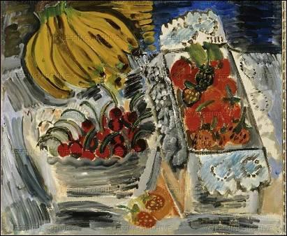 Ce peintre natif du Havre réalisa en 1937 la plus grande peinture au monde (624 m²) 'La Fée Electricité'. Il a peint 'Nature morte aux fruits' en 1912 :