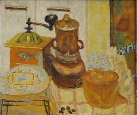 Surnommé 'le nabi très japonard', ce peintre français a réalisé cette 'Nature morte : le moulin à café' :