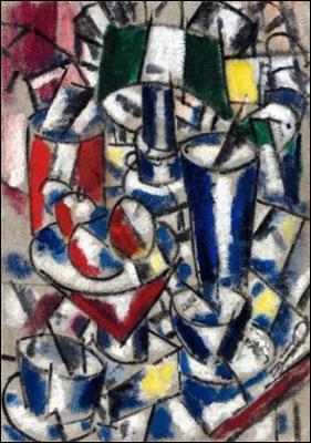 Cubiste, parfois qualifié de 'Tubiste' (1881-1955), il a peint cette 'Nature morte à la lampe' :