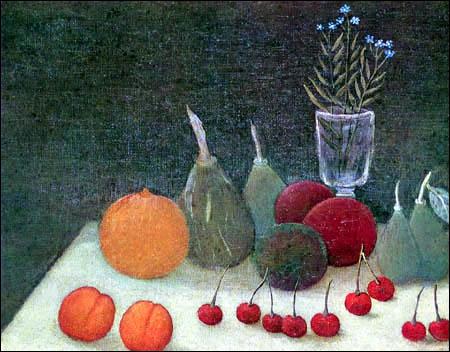 Peintre autodidacte et solitaire, il a peint cette 'Nature morte, Les Myosotis' en 1904 :