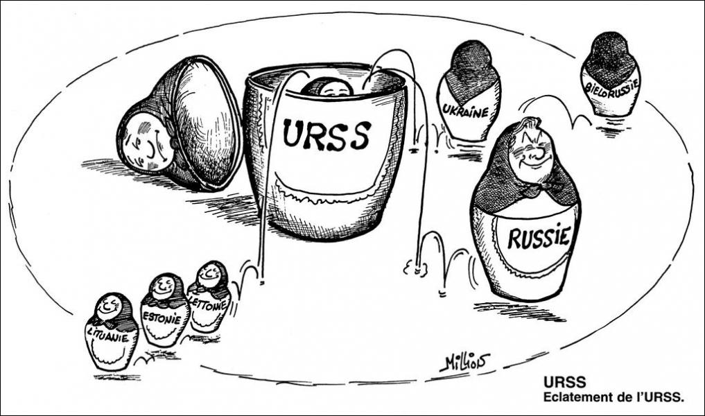 Après la guerre d'Afghanistan et les coûts engendrés par la catastrophe de Tchernobyl, affaiblie et instable politiquement, l'URSS éclate. C'était en quelle année ?