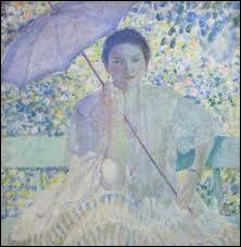 Quel(le) peintre américain(e) est l'auteur de la toile 'La dame à l'ombrelle' ?