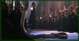 Avec quel sortilège le professeur Rogue fait-il disparaître le serpent que Drago Malefoy a fait apparaître ?