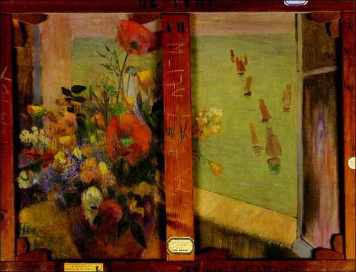 Qui a peint Bouquet de fleurs avec la fenêtre ouverte ?