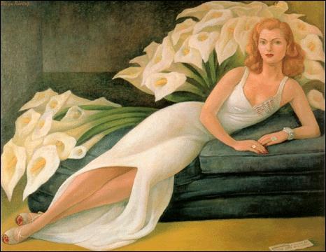 Remarquez la robe, qui est une corolle de calla également... Qui est le peintre ?