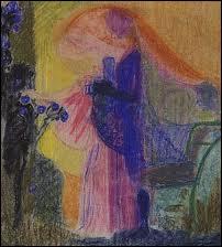 Femme cueillant des fleurs