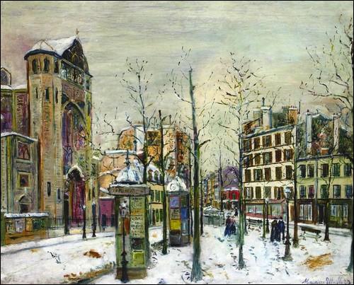 La Place des Abbesses sous la neige