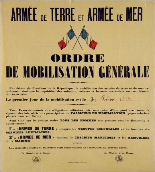 Quand est-ce que la France mobilise ses troupes ?