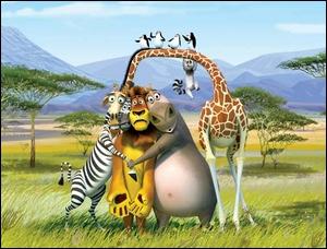 Alex le lion, Marty le zèbre, Melman la girafe et Gloria l'hippopotame.