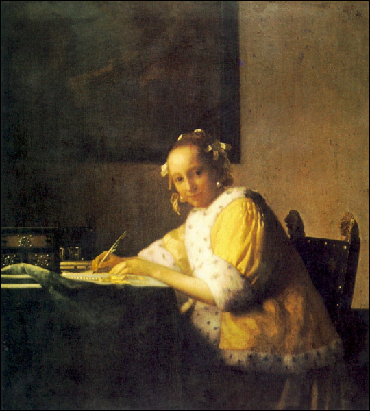 Qui a peint une femme écrivant une lettre ?