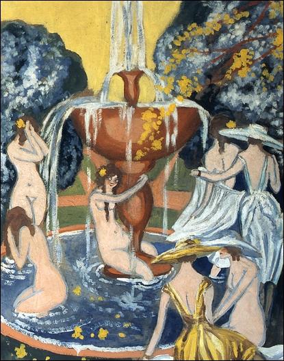 """""""Nymphes et demoiselles à la fontaine d'un jardin"""" est de..."""