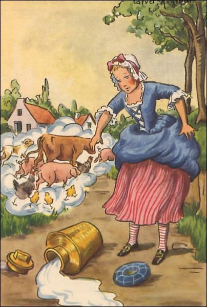 Dans quelle fable de Jean de la Fontaine, est-il écrit 'Adieu, veau, vache, cochon... '