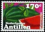 Quel est ce fruit constitué d'une bonne partie d'eau visible sur ce timbre des Antilles néerlandaises ?
