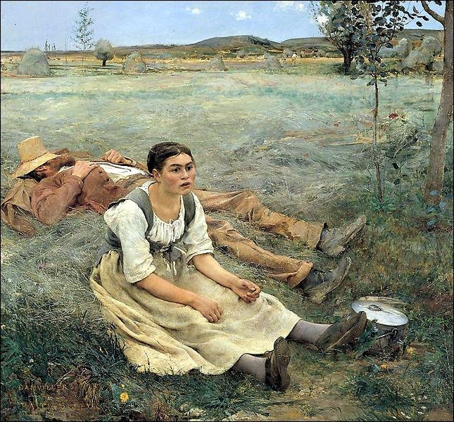 Ce tableau de Jules Bastien-Lepage (Les Foins, 1877) représente...