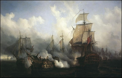 Ce tableau (Bataille de Trafalgar, Auguste Mayer, 1836) est une...