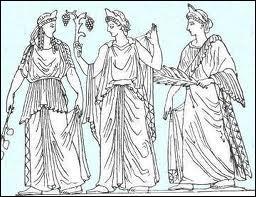 Comment a-t-on surnommé dans la mythologie grecque les 3 autres filles que Zeus eut avec l'Océanide Thémis ? Ce sont les déesses du Bon Ordre ou la Législation, de la Justice et la Paix.
