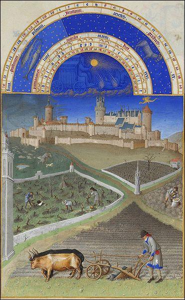 Cette miniature intitulée  Mars , est extraite du livre d'heures  Les Très Riches Heures du duc de Berry . Pendant quel siècle ce manuscrit a-t-il été réalisé ?