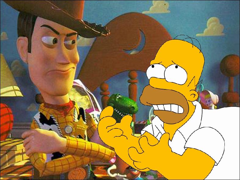 Plus tard, Woody aurait supplié Homer pour tourner dans son dessin animé avec Buzz, c'était dans...