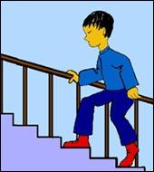 Que fait ce petit garçon dans l'escalier ?