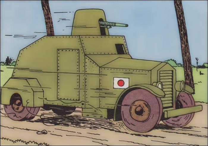 Dans  Le Lotus bleu , Tintin utilise une automitrailleuse de 1929, de quelle marque est-elle ?