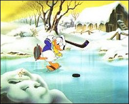 Quel oiseau joue au hockey sur glace !