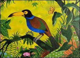Quel est l'oiseau représenté sur cette toile du peintre naïf Alain Thomas ?