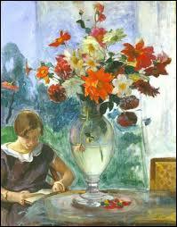 Qui a peint  Jeune femme lisant et vase de fleurs  ?