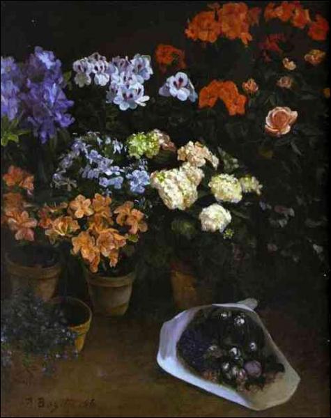 Un bouquet de fleurs - par un peintre impressionniste originaire de Montpellier qui trouva la mort pendant la guerre de 1870 à l'âge de 29 ans (1841-1870)