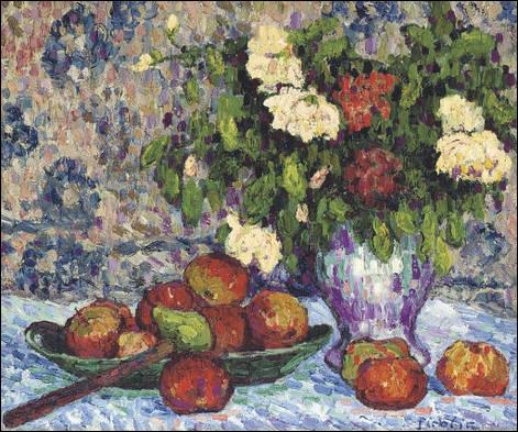Nature morte aux pommes et aux fleurs - par un peintre et écrivain proche des mouvements Dada et surréaliste (1879-1953).