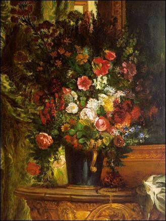 Bouquet de fleurs sur une console - par le plus grand peintre romantique français (1798-1863).