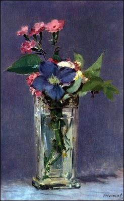 Oeillets et Clématites dans un vase de cristal - par un peintre majeur de la fin du XIXe siècle, influencé par Goya et Vélasquez, proche des impressionnistes (1832-1883)