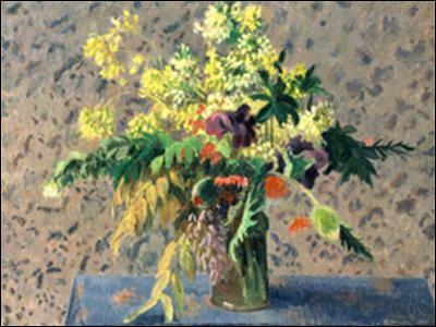 Bouquet de fleurs - par un peintre impressionniste puis néo-impressionniste français originaire des Antilles (1830-1903)