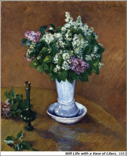Nature morte au vase de Lilas (1883) par un peintre impressionniste français, l'un des premiers à exposer aux Etats-Unis, il est également architecte naval, collectionneur et mécène (1848-1894).