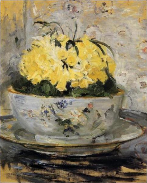 Jonquilles - par une femme peintre impressionniste proche de Manet et arrière-petite-nièce du peintre Jean Honoré Fragonard (1841-1895)