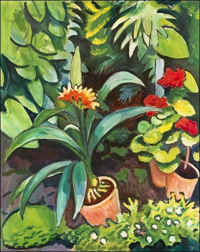 Fleurs dans un jardin- par un peintre expressionniste allemand, d'abord fauve, il adhère en 1912 au Blaue Reiter mais est tué dès le début de la Grande Guerre à l'âge de 27 ans (1887-1914)
