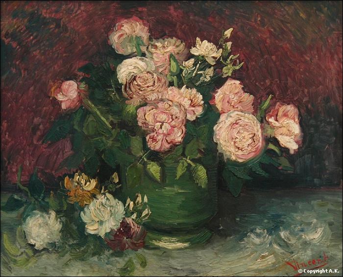 Vase avec roses et pivoines - par le plus célèbre des post-impressionnistes (1853-1890)