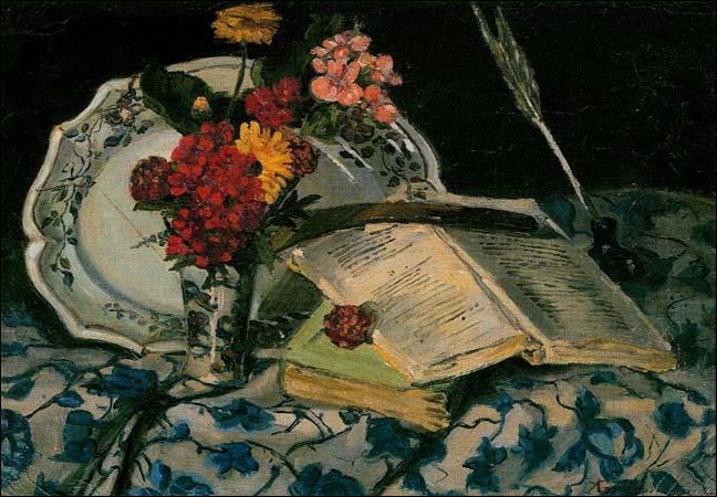 Nature morte, fleurs, faïence et livre - par l'un des premiers participants du groupe impressionniste, avec une tendance fauve dans ses dernières oeuvres (1841-1927)